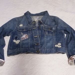 Fancy Old Navy Jean jacket  XL, distressed, beads